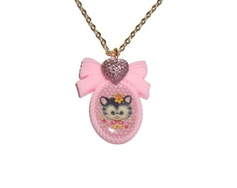 Kawaii Kitten Necklace, Pink Cameo, Cute Baby Cat, Pastel Necklace, Gold Chain