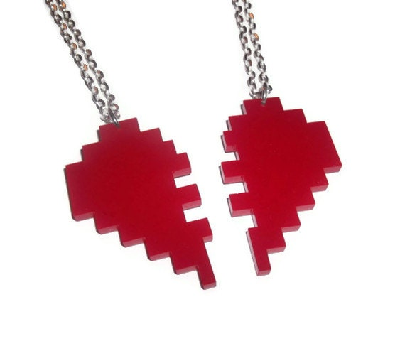 Meilleur Ami Colliers Cœur De Pixel De Lamitié Jeux Laser Rouge Coupe Pendentifs