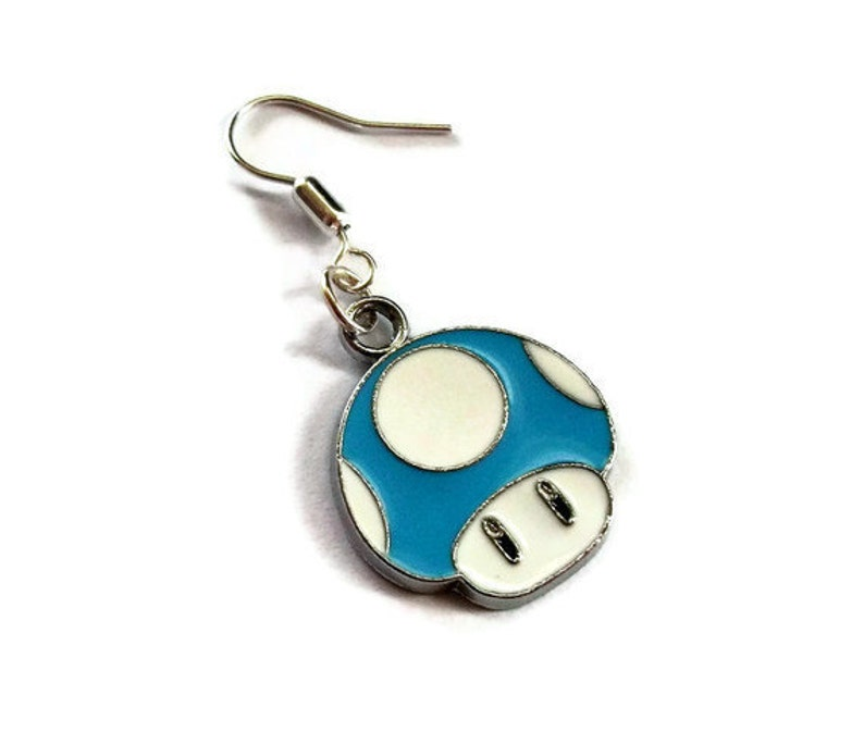 Super Mario Earrings Blue Mushroom