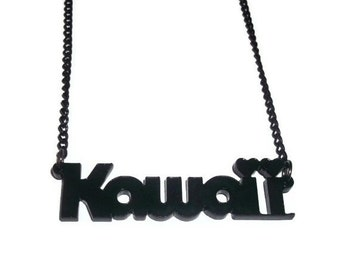 Laser Cut Kawaii Necklace, Black Acrylic Cute Jewelry
