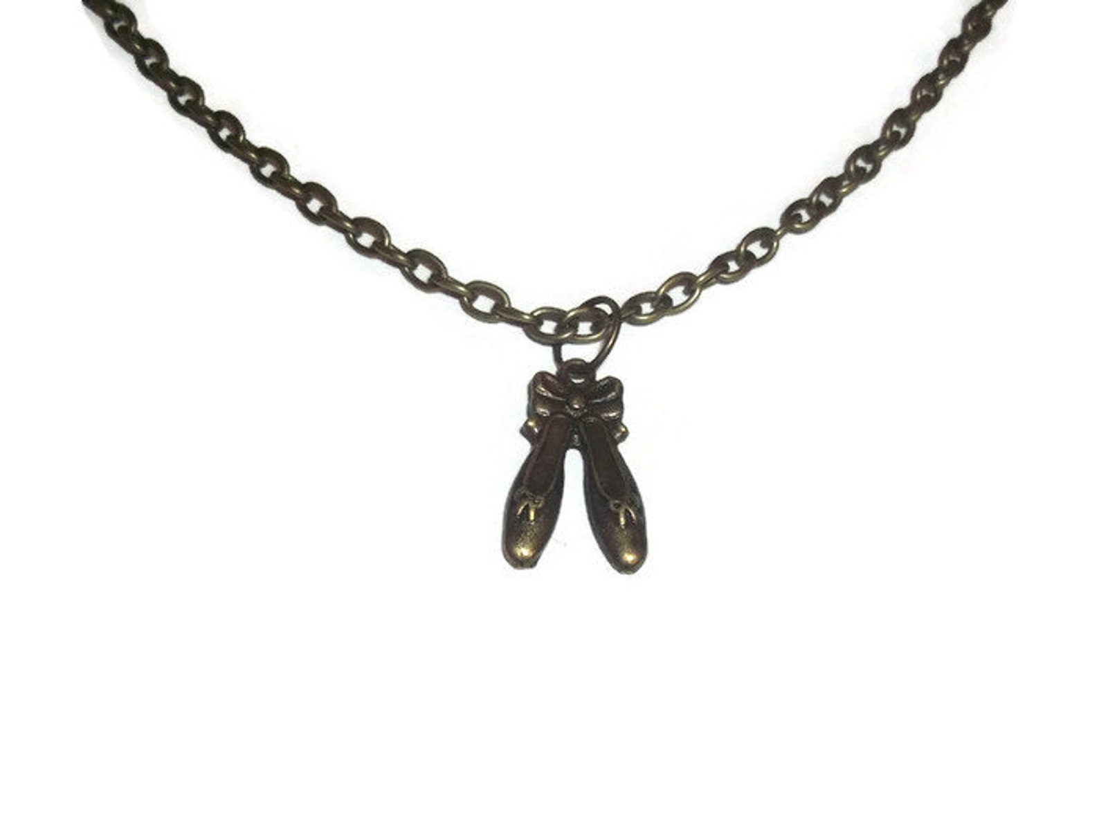 ballet shoes necklace, cute bronze charm pendant, girly dancing
