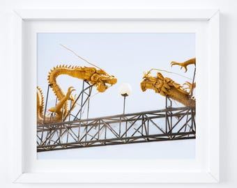 Chinese golden dragons - Chinatown photo print - Los Angeles photography wall decor - California travel fine art -  8x12 12x18 16x24
