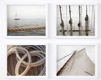 One Free! - Nautical neutrals print set - Photography art prints - Wall decor - Matching art - New England prints - Sailing art - Large art