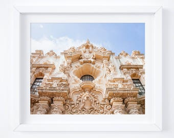 Balboa Park photo prints - San Diego architecture photography - California wall art - Pastel muted fine art decor - Casa Del Prado Theater
