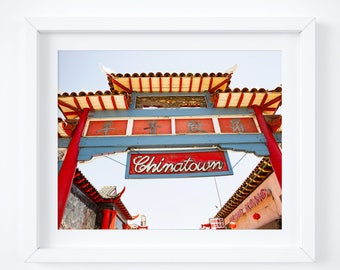 Chinatown photo print - Los Angeles photography - Vintage sign wall decor - 8x12 12x18 16x24 - California travel fine art -  Retro sign gate