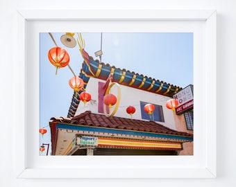Chinatown photo print - California travel fine art - Los Angeles photography - Vintage sign wall decor - 8x10 11x14 16x20 - Chinese lanterns