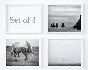 Minimal Iceland print set of 3 - Sale 20% OFF - Black and white photos - Travel wall decor set - Art gift - Fine art photo prints - 16x20