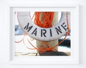 Marine nautical photography print - Travel wall art - Beach house decor- Bright orange, scarlet - Sailing life preserver photo - 8x10