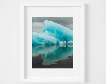 Iceland prints - Blue iceberg photo - Moody landscape photography - Turquoise nature art - Affordable fine art - Winter Holiday gift for men
