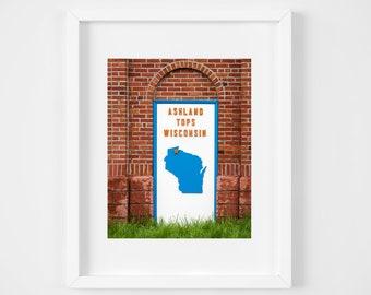 Ashland Wisconsin photo print - Retro sign photograph - Midwest photography - Rust orange large art - Lake house wall decor 8x10 8x12 12x18