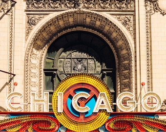 Chicago Theater photo print - Retro theatre marquee - Illinois photography - Vintage sign wall decor - 5x7 8x10 11x14 - Urban art print