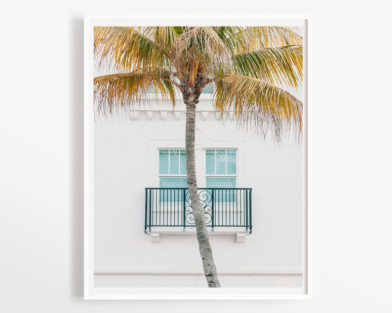 White clean minimal decor Florida photo print Modern travel architecture Miami Beach wall art 5x7 8x10 11x14 photography
