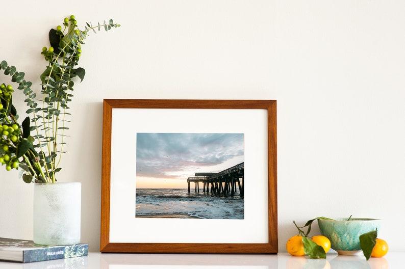 Tybee Island pier photography 5x7 photo print Beach house wall decor Modern coastal art Colorful ocean art