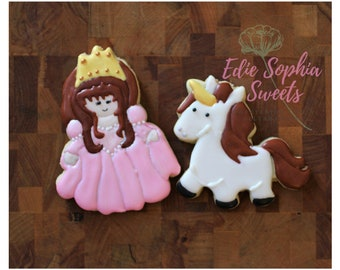 Fairy Tale, Princess and Unicorn Decorated Sugar Cookies , Set of 12