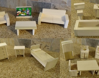 Wooden Dollhouse Furniture HandCrafted FREE SHIPPING! All 4 rooms with 16 pieces.