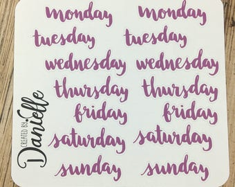 Day of the Week Stickers for Planner, Undated Planner Word Sticker, Calendar Sticker, Large set of  14 - Purple