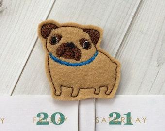 Pug Planner Paper Clip, Dog Planner Bookmark, Pug Gift, Pet Lover Gifts, Planner Paperclip, Planner Clip - Blue