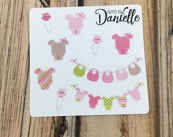 Baby Girl Sticker Sampler, Baby Birthday Planner Stickers, Baby Shower Planner Stickers, Baby Appointment Stickers, set of 9