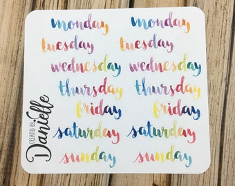 Rainbow Days of the Week Stickers, Bullet Journal Stickers, Notebook Stickers, Bujo Stickers, Large set of  14 - DL01RW