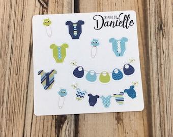 Baby Boy Sticker Sampler, Baby Birthday Planner Stickers, Baby Shower Planner Stickers, Baby Appointment Stickers, set of 9