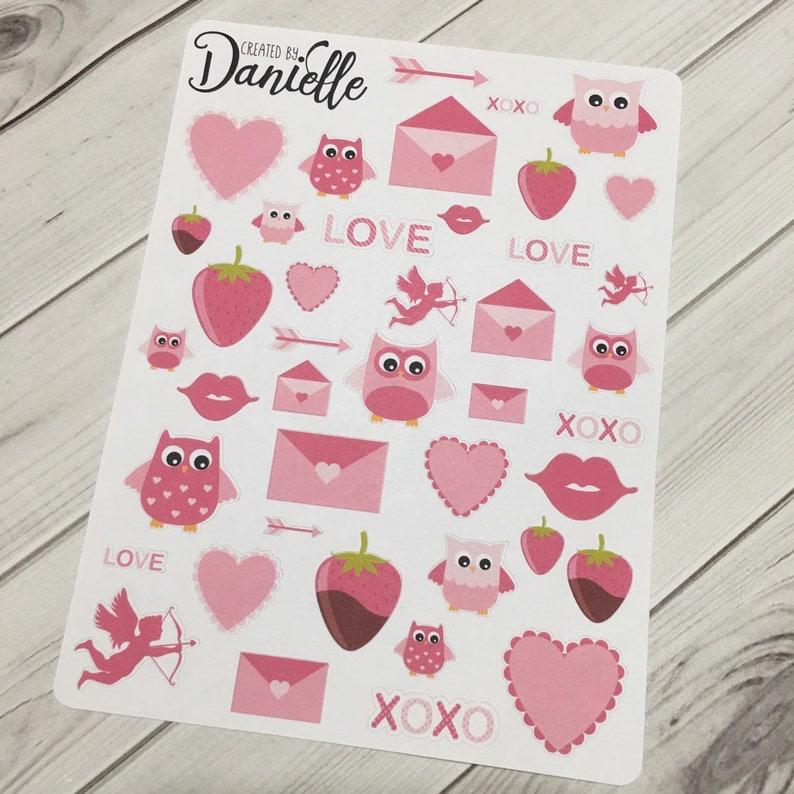6a1d5f40651 Valentines Day Owl Planner Sticker Set - Pink - February Planner Stickers