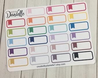 Flag Quarter Box Planner Stickers, Reminder Flag Box Stickers, Appointment Quarter Box Stickers, set of  23
