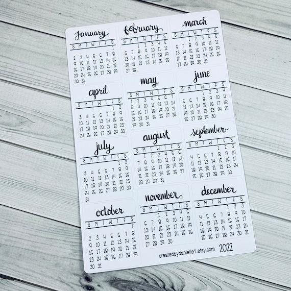 Calendrier 2022 Bullet Journal 2022 Monthly Calendar Planner Stickers Bullet Journal   Etsy