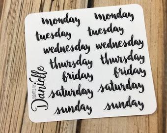 Black Days of Week Sticker, Bullet Journal Sticker, Bujo Planner Stickers, Travelers Notebook Sticker, Small set of 14 - DS01BK