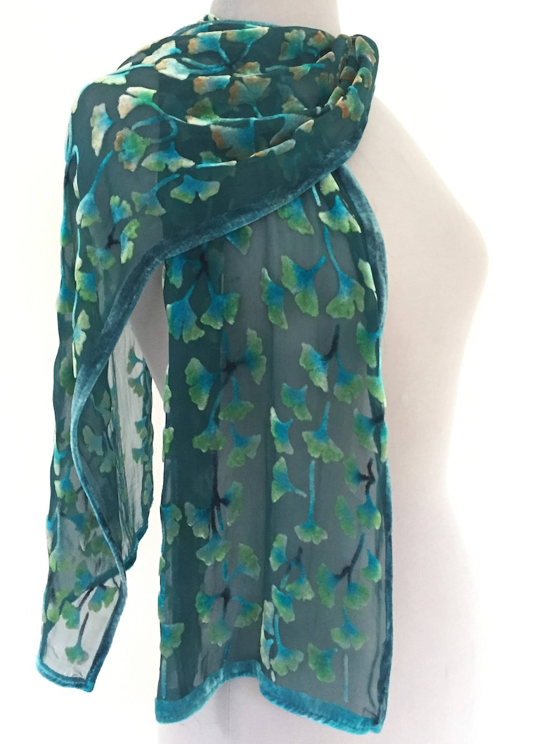 Velvet devore scarf//shawl  Soft green//grey leaf pattern on black   NEW