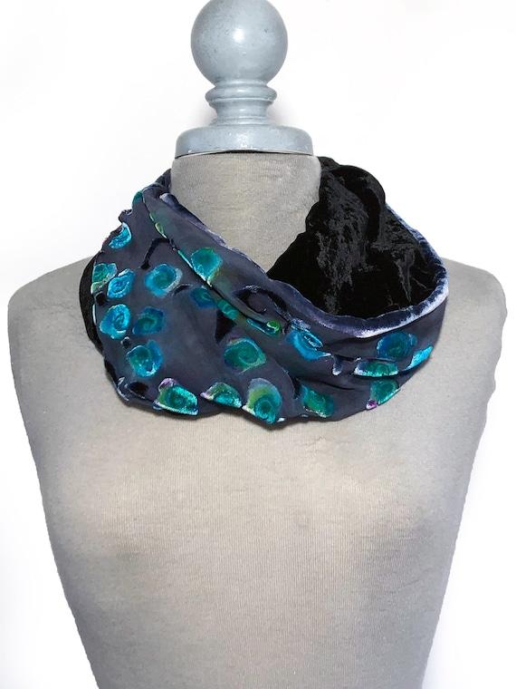 "Silk Velvet Scarf in Hand Dyed Aqua Burnout Scroll  Handmade 12x42/"""