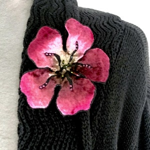 Silk Velvet Flower Pin in Fuchsia with Rhinestone Accents Hand Dyed and Individually Painted one-of-a-kind gift for her