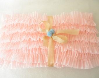 Delicate Pink Ruffled Crepe Paper
