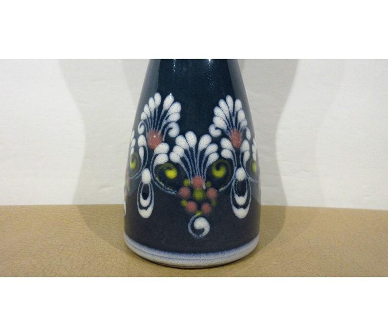 Vintage Original Handmade Gmundner Keramik Pottery Blue and White Floral Design Vase