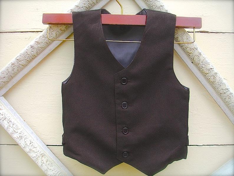 01325d612 Boys Dark Brown Vest Infant to Teen Wedding Ring Bearer