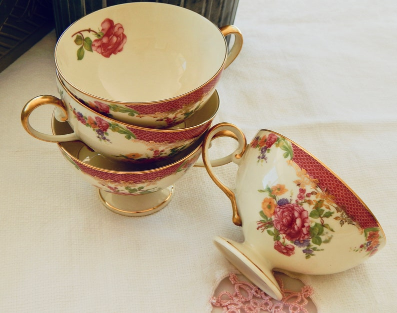 Vintage Rosenthal China Teacups by Continental Ivory King's Rose pattern  Collectible Bavaria China- Excellent Condition- Set of 4