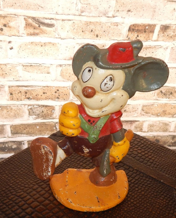 Vintage Mickey Mouse Collectible Farmhouse Chic Cast Iron Souvenir Mickey Mouse Retro Kitchen Decor Country Cottage
