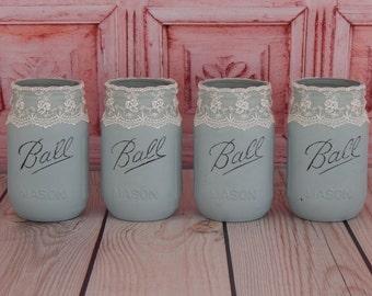 Country Home Decor, Farmhouse Mason Jars, Rustic Table Decor, Mason Jar Centerpiece, Distressed Mason Jars- READY TO SHIP