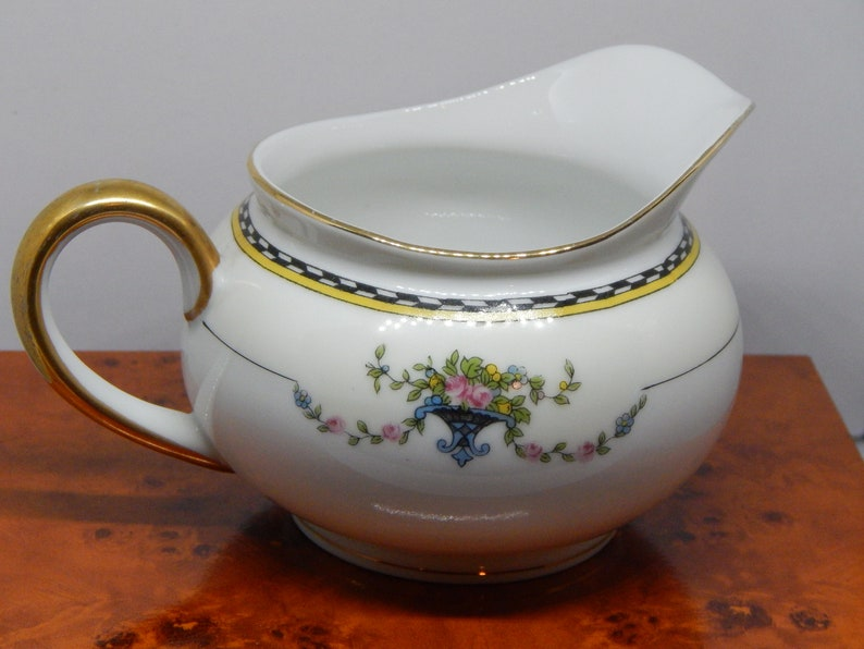 Vintage China Creamer by Noritake ROSEMARY Pattern with Gold Trim- 1920s  China