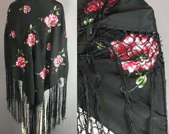 d180fc3f9 1920s silk shawl embroidered with red and white flowers, piano shawl, canton  shawl