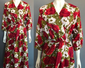 1950s dressing gown with rose print 951b8079a