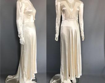 878ac05c8f3 1930s 1940s liquid satin wedding gown