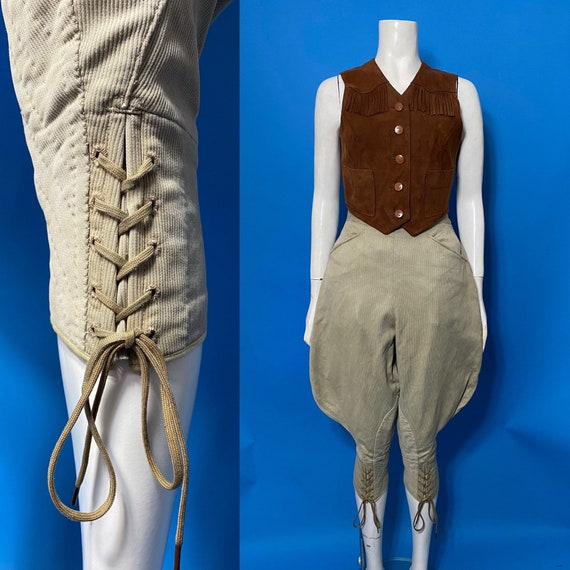 1930s jodhpurs or breeches, corded cotton