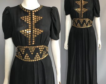Early 1940s evening gown / studded evening dress