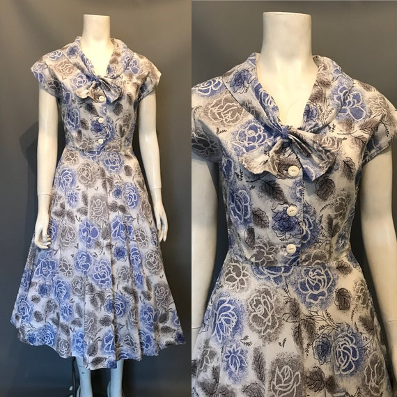 Rose print 1950s dress