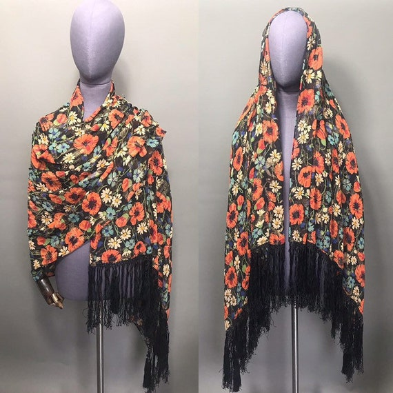1930s lamé shawl with poppies