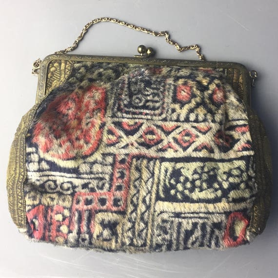 1920s carpet bag / 1920s lamé purse
