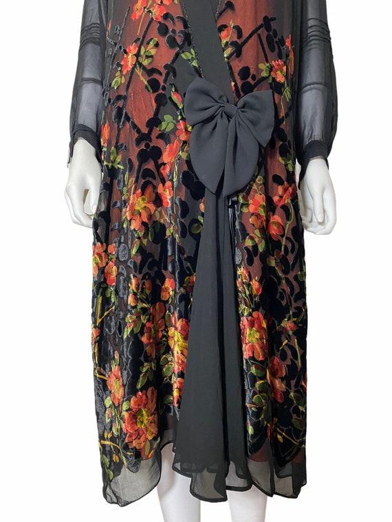1920s devoré dress with orange underdress - image 2