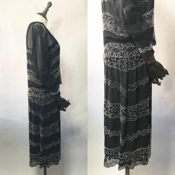 1920s beaded dress in silk chiffon, long sleeves - image 3