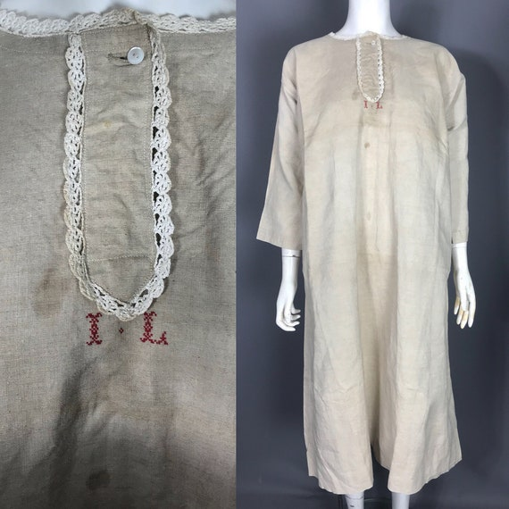 Antique workwear smock made from linen