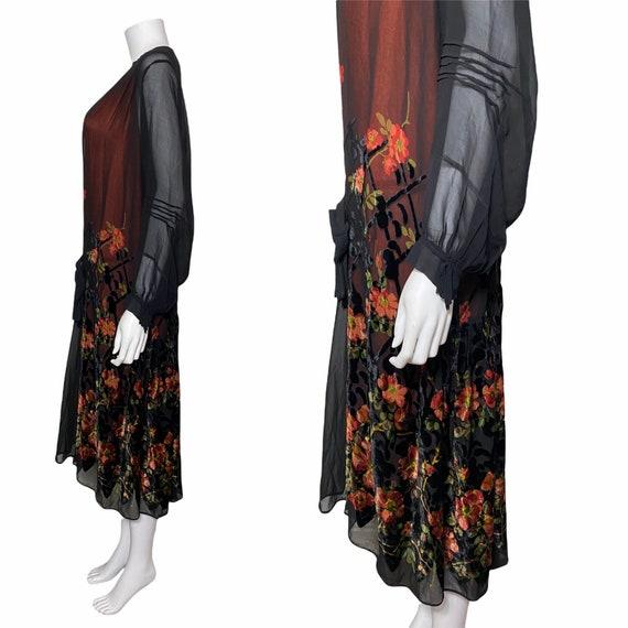 1920s devoré dress with orange underdress - image 3